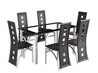 Black rectangle glass table & 6 chairs