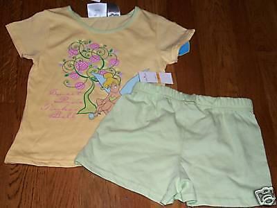 Girls Disney Brand Fairies Yellow & Green 2 Piece Pajamas Size 6 - Disney Fairies Pajamas