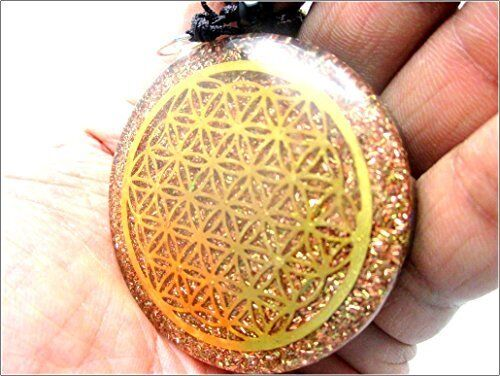 Jet Orgone Flower of Life Chakra Pendant Round 2 inch approx. 3rd Eye Crystal