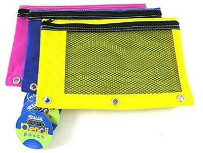 3 Pk, BAZIC Bright Color 3-Ring Pencil Pouch-Mesh Window, Gi