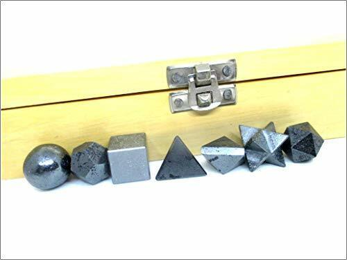 Jet Energized 7 Hematite Geometry Stone Set W/ Box Platonic Solids Healing