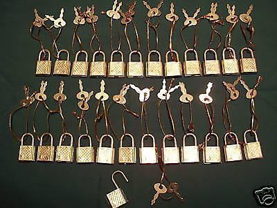 (25) Small Metal Padlock Mini Brass Tiny Luggage/Suitcase Craft Box Locks w Keys