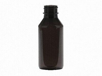1 oz (30 ml) Dark Amber PET Plastic Bottles w/Screw-on Caps (Lot of 100)