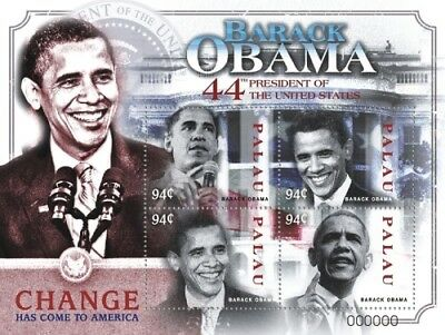 Palau 2009 - 44th Pres. Barack Obama , Sheet of 4 stamps MNH