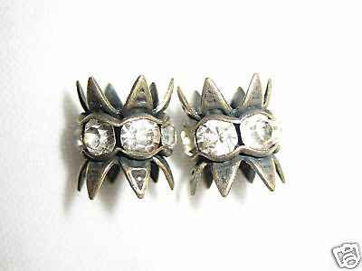 12 6mm Swarovski Bead Caps Antique Brass/Crystal BC600