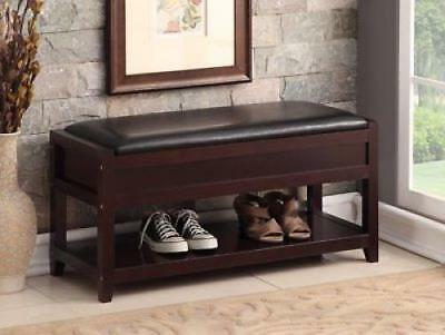Entryway Shoe Storage Bench Wood Rack Organizer Shelf Solid Bedroom Leather Seat
