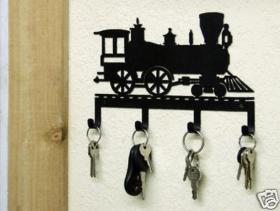 Train Engine Key Holder Rustic Lodge Metal Art Vintage Locomotive Railroad Decor