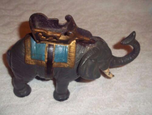 "Cast Iron Indian ELEPHANT Bank Pachyderm w/Howdah Saddle Seat 8"" L X 6"" T"
