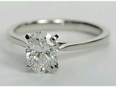 1ct ROUND BRILLIANT OVAL  CUT  SOLITAIRE ENGAGEMENT RING SOLID 14K WHITE GOLD
