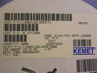 4000 Kemet 1000Pf 50V 5  Ceramic Chip Capacitors 1206