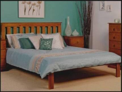 Brand new modern wooden queen size bed brand new mattress, can de