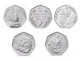 COMPLETE CIRCULATED BEATRIX POTTER 50P COINS