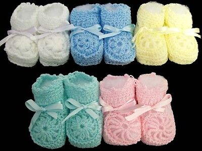 Knitted Crochet Booties - Newborn Size - Asstd Colors 12 Pairs Lot  (00215-12^*)