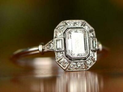 1.50 Ct Emerald-Cut Diamond 14K White Gold Finish Vintage Style Engagement Ring