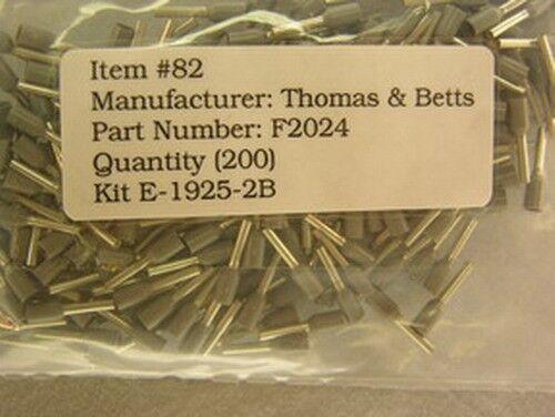 200 Thomas & Betts F2024 Sta-Kon Insulated Ferrules 18AWG Grey