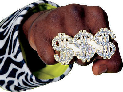 BIG DADDY PIMP DOLLAR SIGN RING GANGSTER BLING GANGSTA 1970'S PLAYER COSTUME