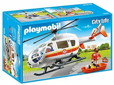 Playmobil City Life Emergency Medical Helicopter 6686 (for Kids 4 to 10)