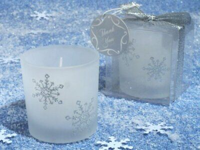 Winter Wonderland Frosted Glass Votive Candle Wedding Favor Frosted Votive Candle Favors
