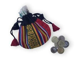 NEW SMALL NEPAL COIN PURSE CHANGE RAINBOW COLOURFUL DRAW STRING FAIRTRADE UNISEX