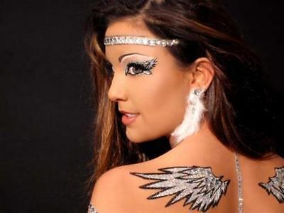 Mini Angel Wings Glitter Feather CZ Crystal Rhinestone Body Sticker Bird Costume
