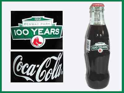 2 Full  ~  BOSTON RED SOX / Fenway Park ~ 100 years ~ Coke BOTTLES ~ 8oz (id: b)