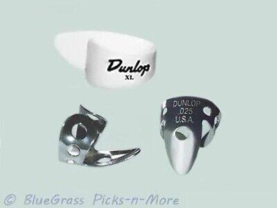 DUNLOP PICK SET - EXTRA LARGE Thumb, Nickel Finger Picks .025, Dobro Banjo Steel Large Thumb Pick