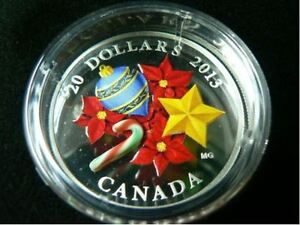 2013  $20 Fine 1oz 99.99% pure Silver Coin - Holiday Candy Cane