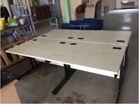 Set of 4 light oak rectangle desks