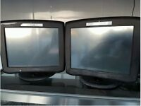 2 touchscreen monitors with tower block PCs and EPOS software