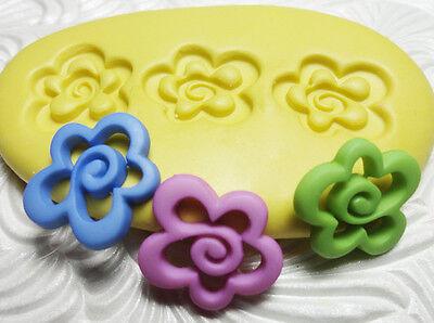 Silicone Resin Polymer Clay Fondant Flexible Push Mold FLOWER TRIO 4721