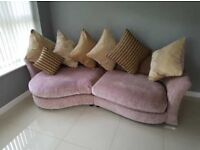 DFS Beige 4 Seater Pillow Back Corner Sofa Chrome Legs.
