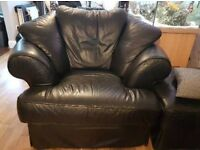 Black leather 3 seat sofa and large armchair