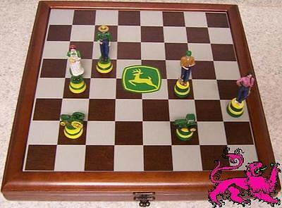 Chess Set With Wood Board & Storage Box John Deere Vintage Vs Contemporary