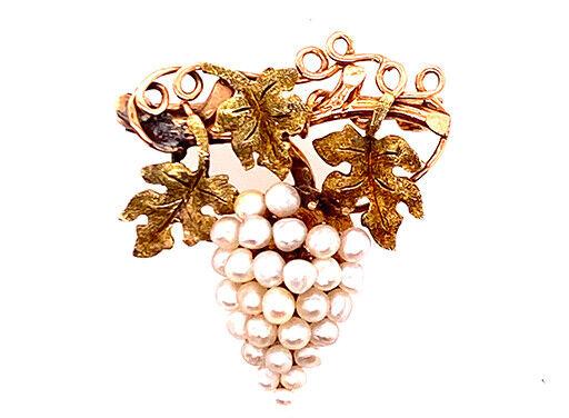 Vintage Pearl Pendant 14K Grape Brooch Pin Antique Victorian