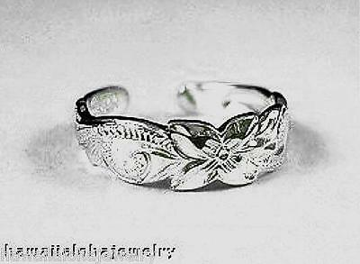 6mm Hawaiian Rhodium Over Solid Sterling Silver Royal Heritage Scrolls Toe Ring
