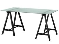 Home Office Desks - 4 Available. Modern glass top with trestles.