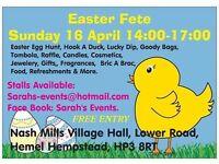 EASTER FETE & EGG HUNT SUNDAY 16 APRIL 2-5 PM NASH MILLS VILLAGE HALL HEMEL HP3 8RT