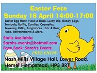 EASTER FETE & EGG HUNT ON SUNDAY 16 APEIL 2PM - 5PM AT NASH MILLS VILLAGE HALL FREE ENTRY