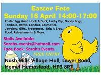 SUNDAY 16TH APRIL EASTER FETE & OUTSIDE CAR BOOT NASH MILLS VILLAGE HALL FREE ENTRY
