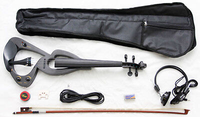 NEW 4/4 BLACK ELECTRIC Violin+GIGBAG CASE+BOW+HEADPHONE on Rummage