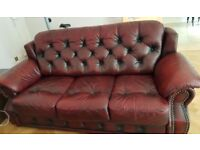 Leather 3 seater and armchair