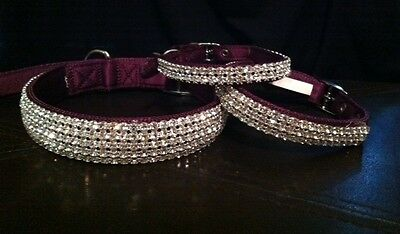 "Small Purple Swarovski Crystal Rhinestone Dog Collar Fits 10-14"" Necks"