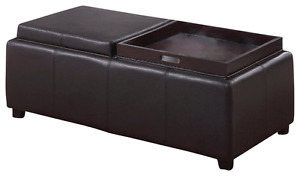 Black faux leather storage bench