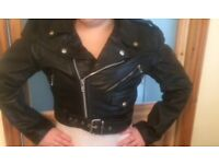 black ladies real leather jacket size small