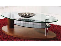 Luca Walnut Clear Glass Coffee Table