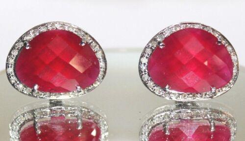 1.50cts ROSE CUT DIAMOND RUBY ANTIQUE VICTORIAN LOOK 925 SILVER CUFFLINK
