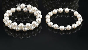 Pearl Rhinestone Crystal Spiral Bling Bangle Bracelet -New