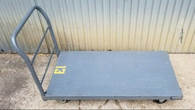 """Steel Deck Platform Truck 48""""×24"""" 2000 Lb Capacity With Rubber Casters"""