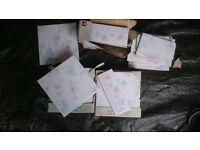 """Sarah Pink Floral"" retro bathroom/kitchen tiles - 10 square plus 22 border"