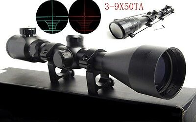 Hunting 3-9X50TA Red Green Mil-Dot Optic Scope Sight 20mm rail Mount For Rfile